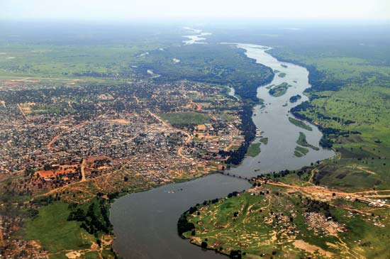 Vista aérea de la ciudad de Juba, a orillas del Nilo. ©The Safari Company of the River Nile
